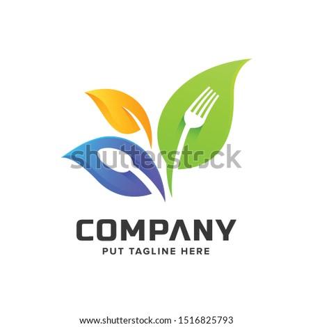 creative colorful fork logo