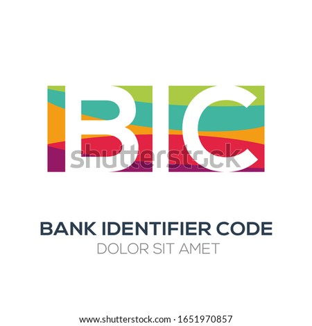 Creative colorful logo , BIC mean (bank identifier code) .