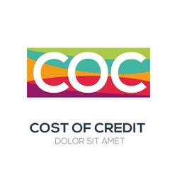 Creative colorful logo , COC mean (cost of credit) .