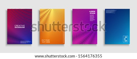 Creative colorful minimalistic covers, templates, posters, placards, brochures, banners, flyers and etc. Abstract geometric halftone backgrounds with gradient. Digital striped tredny design.