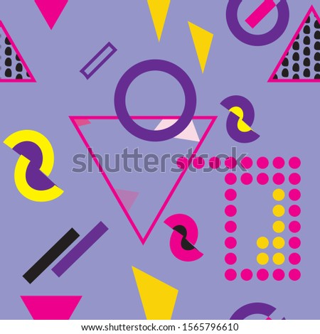 Creative colorful modern hipster pattern texture with different shapes. Ikea style background vector illustration.