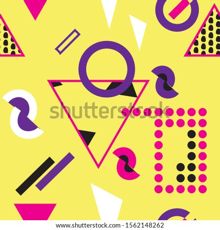 Creative colorful modern hipster pattern texture with different shapes. Ikea style yellow background vector illustration.