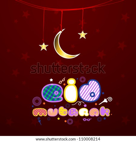 Creative colorful text Eid Mubarak with hanging golden Moon and star. EPS 10.