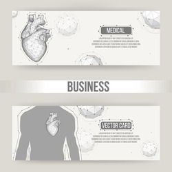 Creative concept Background of the human heart. Vector Illustration eps 10 for your design. Polygonal design style letterhead and brochure for business.