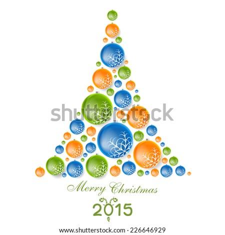 Creative concept fir tree from Christmas balls. Vector design