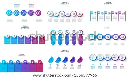 Creative concept for infographic timeline. Process chart. Abstract elements of graph, diagram with 4, 5 and 6 steps, options, parts or processes. Vector business template for presentation.