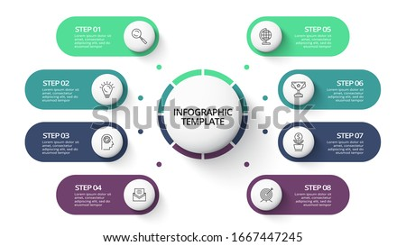 Creative concept for infographic with 8 steps, options, parts or processes. Business data visualization.