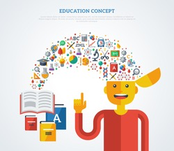 Creative concept of education. Vector illustration. Boy student with icons and symbols flying from books into his head. Back to school. Learning process.