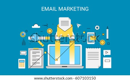 Creative concept of email marketing campaign flat design thin line vector concept with icons