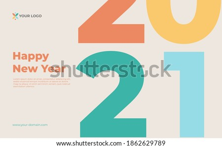 creative concept of 2021 happy new year banner with muted color. Design templates with typography logo 2021 for celebration. Muted backgrounds for branding, banner, cover, card. Photo stock ©