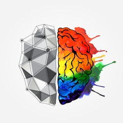 Creative concept of the human brain. Left and right side. Brain left and right side hemispheres concept. Vector illustration
