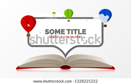 Creative concept. Open Book With Air Balloons and space for text. Vector illustration