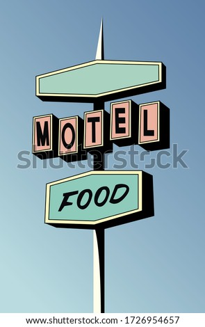 Creative concept travel vector illustration hotel hostel motel sign signboard on the road. Сток-фото ©