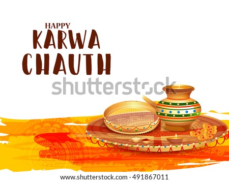 creative concept with decorated pooja thali for indian festival of karwa chauth celebration 491867011