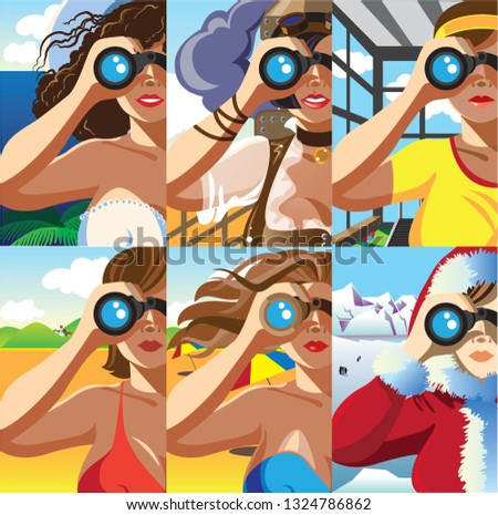 Creative conceptual vector set. Woman looking through the binocular.