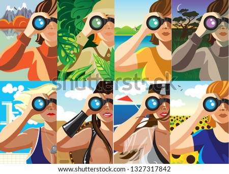 Creative conceptual vector set. Woman looking through the binoculars.
