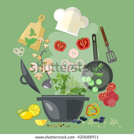 Creative cooking collection cookbook flying kitchen tools and vegetables cooking food vector illustration