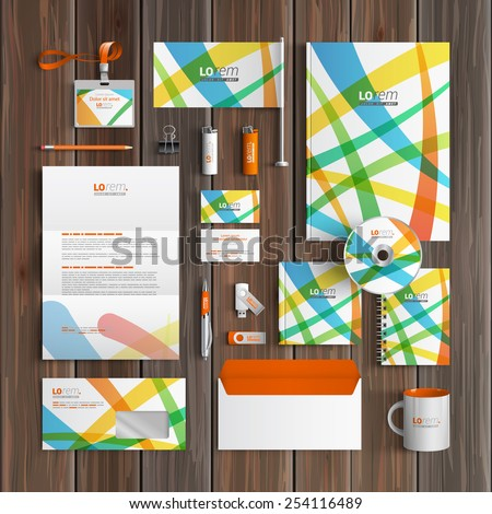 Creative corporate identity template design with color art elements. Business stationery
