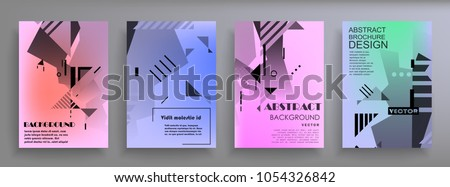 Creative covers with abstract geometric pattern. Shapes with gradients composition #1054326842