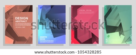 Creative covers with abstract geometric pattern. Shapes with gradients composition #1054328285