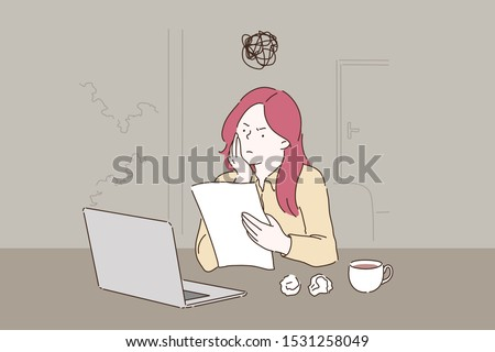 Creative crisis, burnout cartoon concept. Woman working with laptop, reading document with dissatisfied facial expression, student writing essay with several spoilt drafts. Simple flat vector