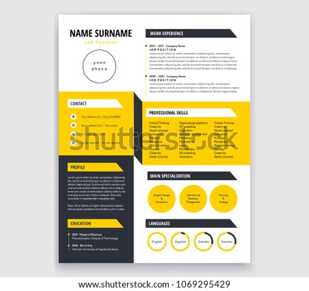 minimalis corporate resume template illustration download free