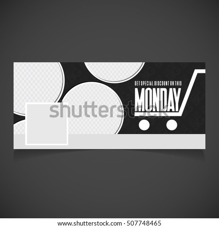 Creative Cyber Monday banner template. place for image. Photography Facebook Cover. Vector illustration