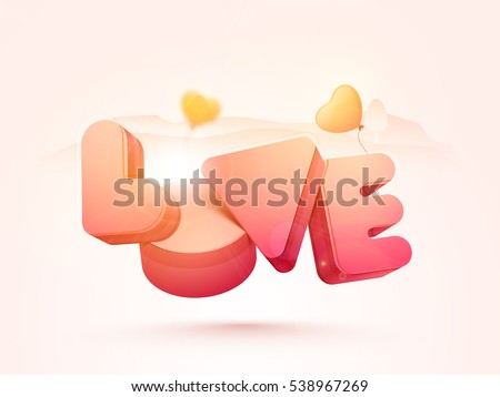 creative 3d text love with