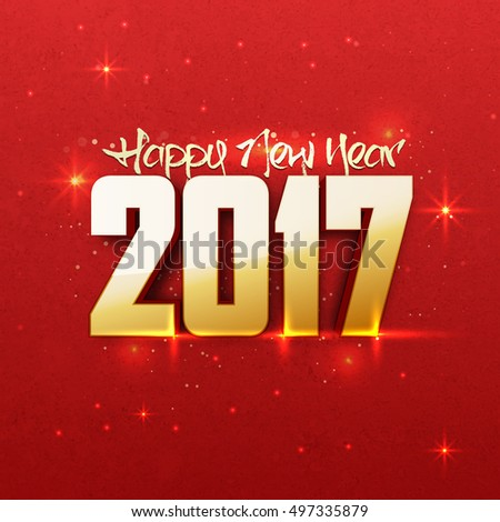 creative 3d text 2017 on red background elegant greeting card design for happy new year