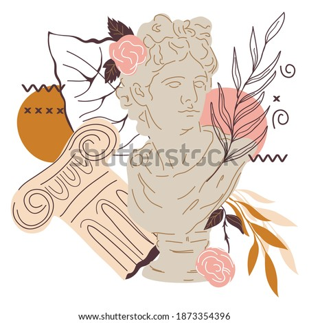 Creative decorative image with statue of Greek god Apollo and plants, flat vector illustration isolated on white . Ancient Greek sculpture decorated with leaves and abstraction for cards and t-shirts.