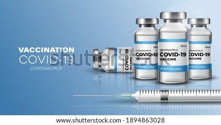 Creative design banner for Coronavirus vaccine background. Covid-19 corona virus vaccination with vaccine bottle and syringe injection tool for covid19 immunization treatment. Vector illustration.