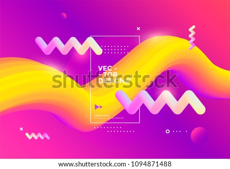 Creative design 3d flow shape. Liquid wave backgrounds. Vector illustration