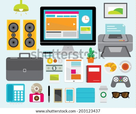 Creative Design Elements of Business Office Workspace