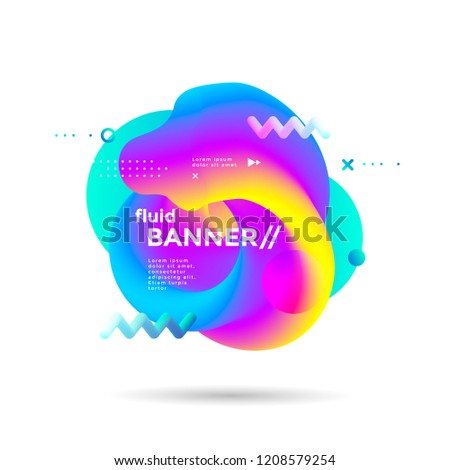 Creative design fluid banner with futuristic gradients shapes. Vibrant geometric elements. Minimal brigth backgrounds for flyer, cover, brochure. Vector template