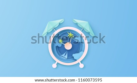 Creative design for Alarm clock with sea view in the Mid morning. Alarm clock design for Sea in Summer. paper cut and craft style. vector, illustration.