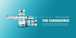 Creative design for Coronavirus vaccine vector background. Covid-19 corona virus vaccination with vaccine bottle and syringe injection tool for covid19 immunization treatment. Vector illustration.