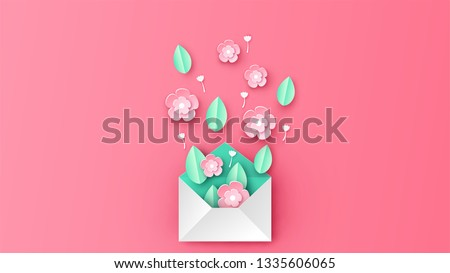 Creative design for Envelope decorated with flowers in spring season. Graphic design for spring. paper cut and craft style. vector, illustration.