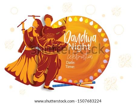 creative design for Navratri Dandiya in disco Garba Night couple dance banner poster for  Dussehra festival of India Stock photo ©
