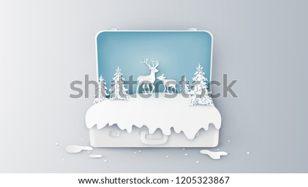 Creative design for Winter landscape and Deer family inside suitcase. Open suitcase for Winter. Graphic design for Winter. paper cut and craft design. vector, illustration.