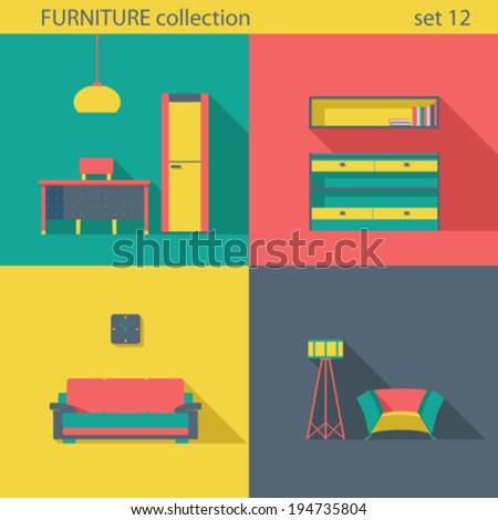 Creative design furniture icons set Interior Long shadow style Furniture vector collection Home interior