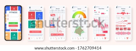 Creative design of the Fitness Application, UI, UX. Set of GUI Screens with Login and Password input, and Screens Showing Physical Activity, Health Infographics. Mobile template Health & Medical. 3d