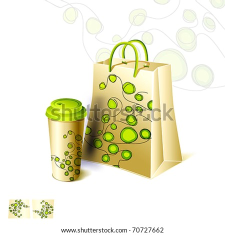 Creative design, paper coffee cup and shopping bag set. Vector isolated on white.