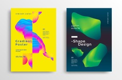Creative design poster with vibrant gradients shapes. Minimal brigth backgrounds for flyer, cover, brochure. Vector template
