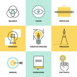 Creative design process concept with web studio development elements,?? business vision, marketing strategy, smart solution and success ideas. Flat line icons modern style vector illustration set.