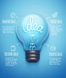 Creative design template with light bulb