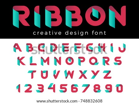 Creative Design vector Font of Ribbon for Title, Header, Lettering, Logo. Corporate Business  Technology Typeface. Colorful Letters and Numbers. Stok fotoğraf ©