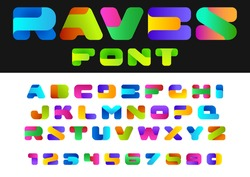 Creative Design vector Font of twisted Ribbon for Title, Header, Lettering, Logo. Funny Entertainment Active Sport Technology areas Typeface. Colorful Letters and Numbers.