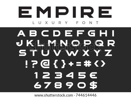 Creative Design vector linear Font for Title, Header, Lettering, Logo, Monogram. Corporate Business Luxury Technology Typeface. Letters, Numbers Line art style.