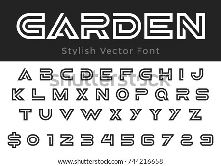 Creative Design vector linear Font for Title, Header, Lettering, Logo, Monogram for corporate Business Luxury Technology Typeface. Letters, Numbers Labyrinth Line art style.