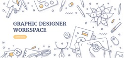Creative designer desk with stationary objects pencils, markers and design symbols. Top view on graphic designer workspace. Flat lay. Doodle illustration for web banners or hero images